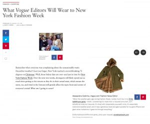 VOGUE Article 02/16 What Vogue Editors will wear to NY Fashion Week